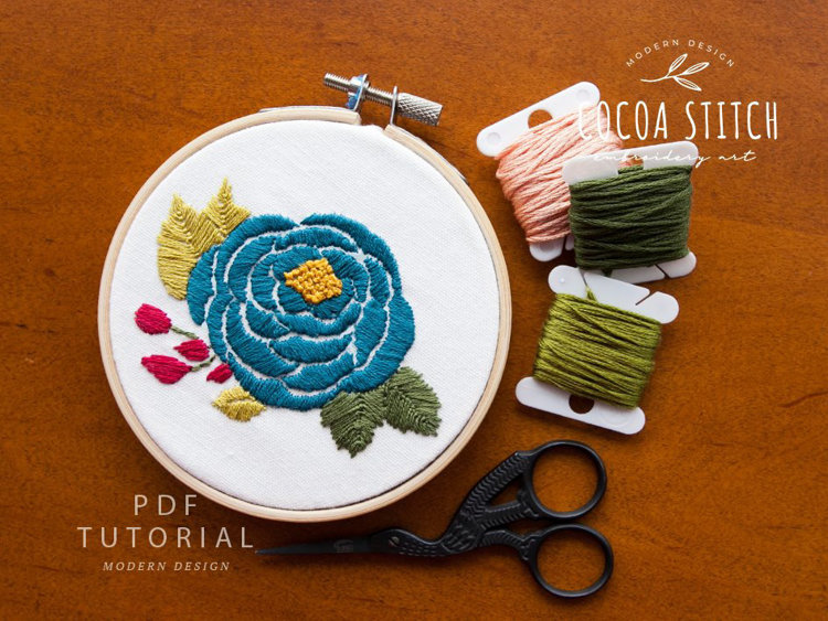 "Picture of 4"" Rose Embroidery PDF Pattern"
