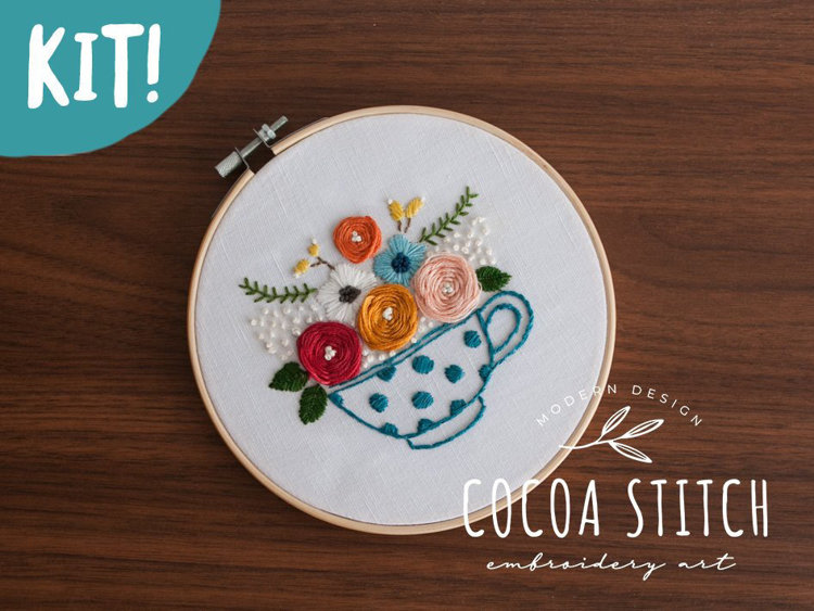 "Picture of Tea Cup 6"" Embroidery Kit"