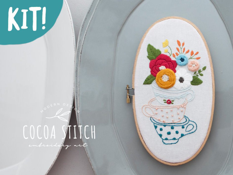 "Picture of 5""X 9"" Tea Cup Oval Shape Embroidery Kit"