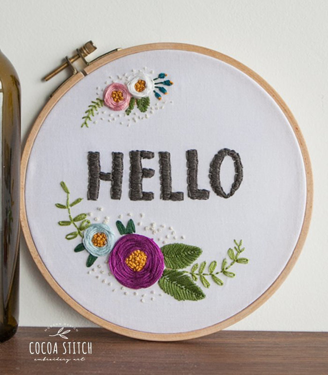 "Picture of Hello 6"" Embroidery PDF Pattern"
