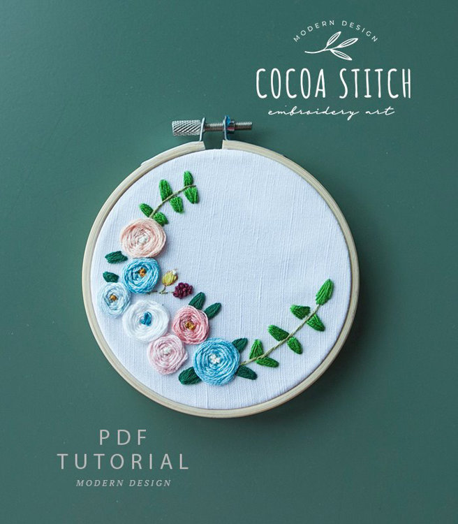 "Picture of 4"" Roses Embroidery PDF Pattern"