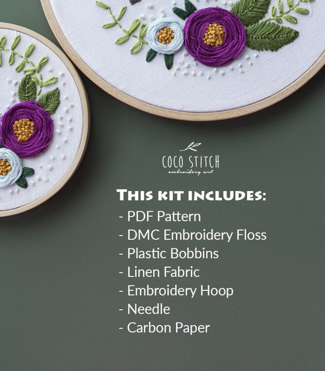 """Picture of 4"""" Three Roses Embroidery Kit"""