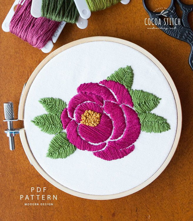 "Picture of 4"" Pink Rose Embroidery Kit"