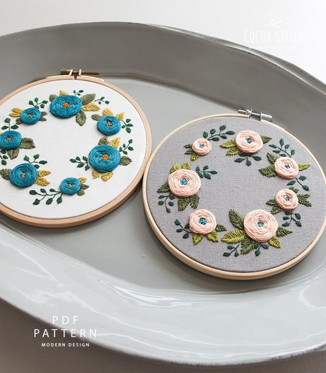 "Picture of 6""(7"") Seven Flowers Embroidery PDF Pattern"
