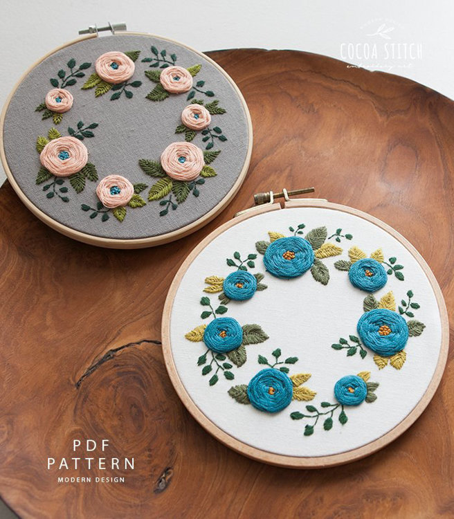 """Picture of 6"""" Seven Flowers Embroidery Kit"""