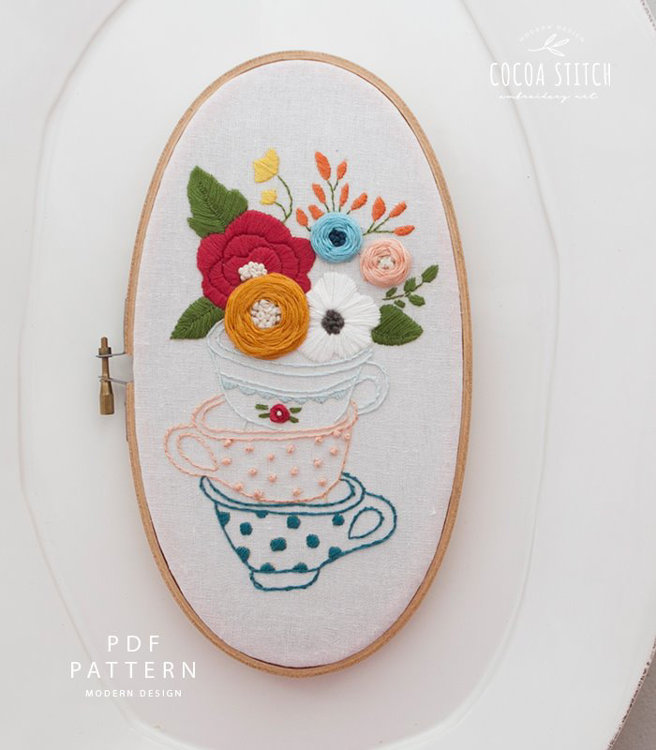 """Picture of 5""""X 9"""" Tea Cup Oval Shape Embroidery PDF Pattern"""