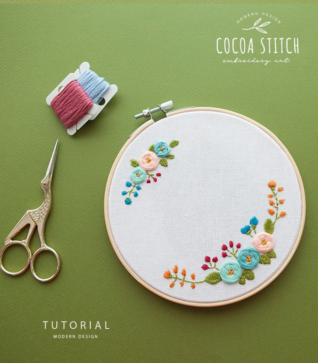 "Picture of 6""(7"") Flowers Embroidery PDF Pattern"