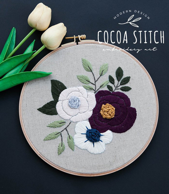 "Picture of 9"" Three Flowers Embroidery PDF Pattern"