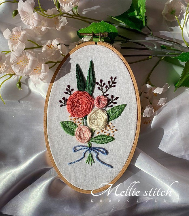 "Picture of 5"" X  8"" Romantic Roses Embroidery PDF Pattern"