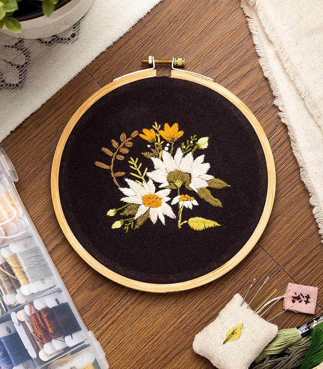 """Picture of 6"""" Daisy Field Embroidery PDF Pattern"""