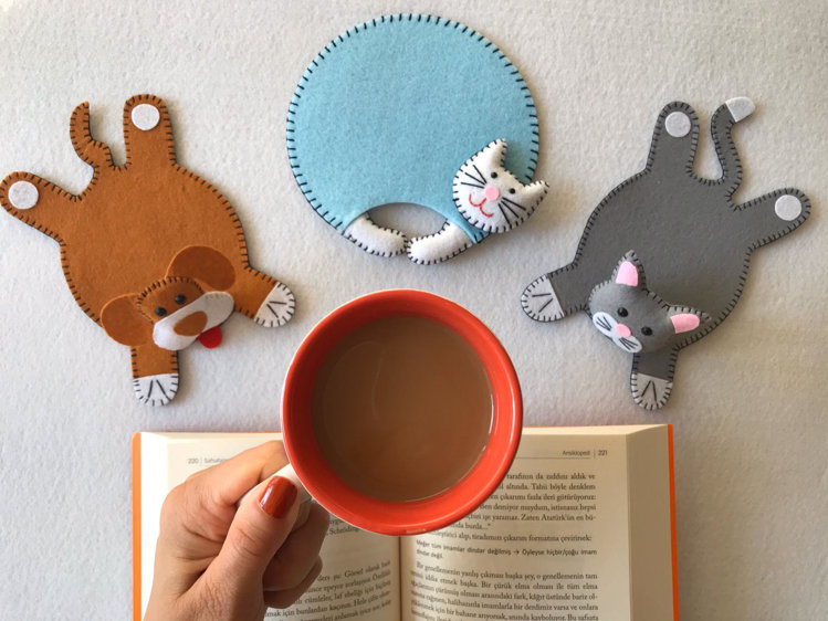 Picture of Felt pdf pattern, sewing tutorial, plushies, DIY coaster, 3 coaster pattern bundle